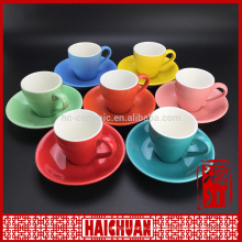Bright colored ceramic tea cup and saucers bulk wholesale from henan china