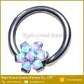 Prong Set Flor Synthetic Fire Opal Melhor Amigo Mamilo Anel