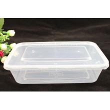 Conteneurs à emporter à micro-ondes rectangulaires plastiques en plastique PLA de 650 ml avec couvercle
