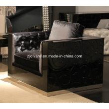 Pós-moderna madeira & sofá de assento da tela