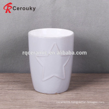 Star shape embossed ceramic milk mug without handle