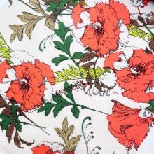 Фабрика производитель красная роза цветочный узор полиэстер тканый креп пузырь шифоновая ткань с принтом для девочек платье