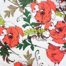 Factory manufacturer red rose flower pattern polyester woven crepe bubble chiffon print fabric for girls dress