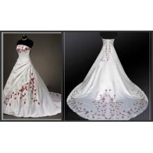 Graceful Embroidery Pleat Tafetá Strapless A-Line Vestidos de casamento do tribunal Train China