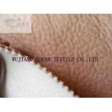 Wildleder Stoff verklebt mit Spongia und gestrickte Stoff knittert