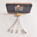 promotional gift 3 in 1 charging cable bamboo phone holder stand gift away  business gift