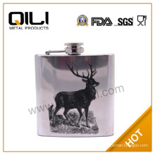 wholesale unique stainless steel hip flask with 1c printing