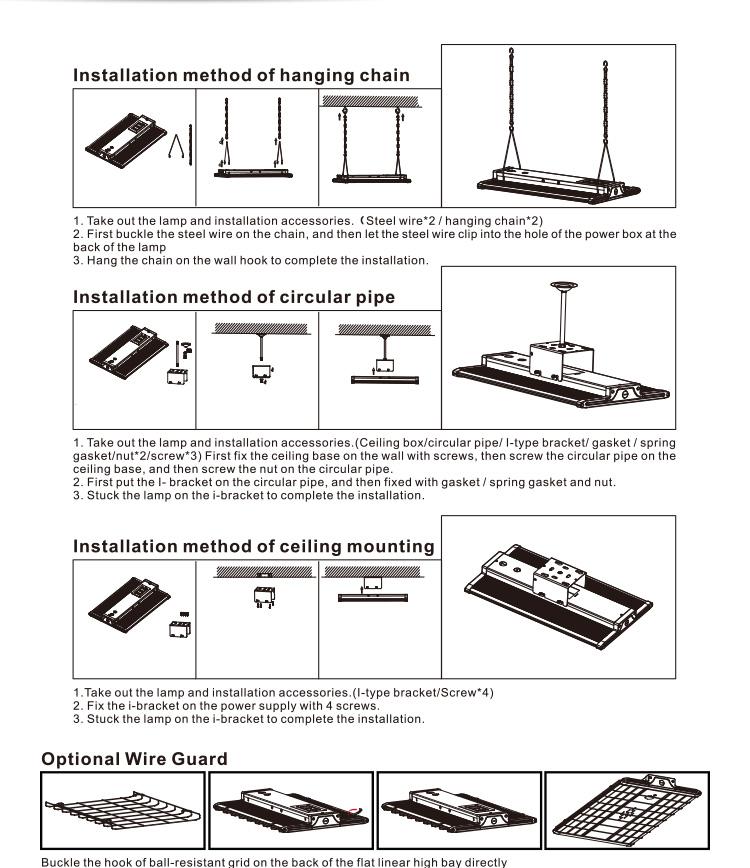 Aluminum LED Flat Linear High Bay Light Fixture 005