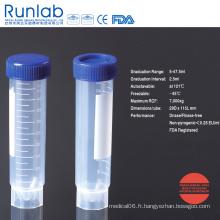 Tube à centrifuger autonome de 50 ml approuvé par la FDA et la CE avec graduation imprimée dans un sac pelable