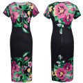 Europe High Fashion Design Ladies Short Sleeve Traditional Dress Slim Fit Printed Flower Round Neck Women Frock Dress