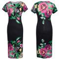 Европа Дизайн Высокой Моды Дамы С Коротким Рукавом Традиционный Платье Приталенный Fit Цветок Печатных Шею Женщины Платье Платье