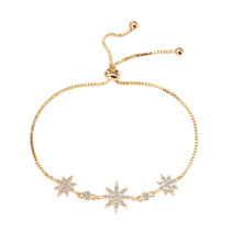 Imitation silver micro-studded three-meter eight-pointed star bracelet female adjustable