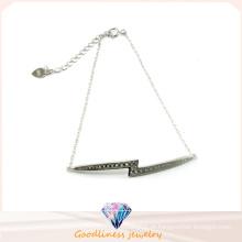 Venda de fábrica agradável cor de moda jóias brilhantes pulseira de prata de pedra (bt6572)