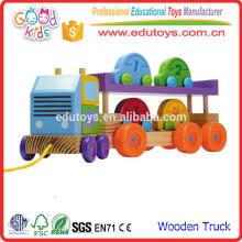 2016 Novo brinquedo de madeira de estilo de madeira para crianças, veículo de brinquedo de transporte de carro de madeira para crianças, cor brilhante que puxa ao longo do brinquedo de caminhão