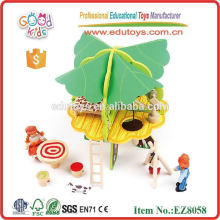 OEM&ODM Available Creative Design Green Tree Wooden Doll House Wholesale