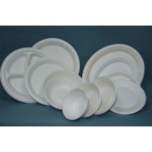 Biodegradable Pulpa de papel Vajilla Sugarcane Desechable Plate Bowle Clamshell