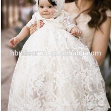 Baby Crescido Batismo Roupas Bordado Longo Lace Infantil Baby Girl Baptism Dress
