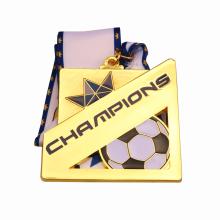 Quadratische Goldmetall-Fußballmeistermedaille