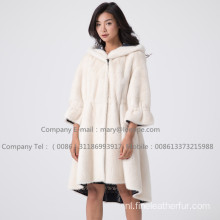 Lady Mink Fur Velvet Overcoat Winter