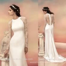 WD5561 barato feito na China manga comprida decote redondo rendas sheer volta mais popular vestido de noiva de moda novo vestido