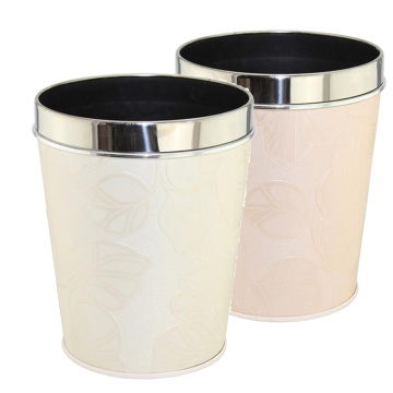 Open Top Leatherette Covered Stainless Steel Top Rim Waste Bin