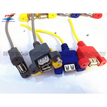 Cables de montaje en panel USB 2.0 con tornillo