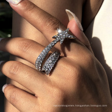 2020 Hot Selling Rings for Women Star Crescent Flower Popular Finger Ring Gold Plated Rhinestone Jewelry