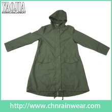 Yj-6204 Army Green Waterproof Raincoat Rain Gear for Men Women