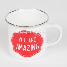 Logo impressão personalizada estanho e esmalte café caneca alimentos safty com alta qualidade