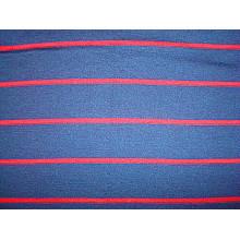 Tissu en jersey simple à rayures teintées en fil de laine pure