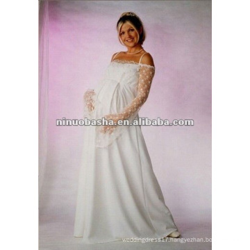 Long Sleeve Empire Pregnant Wedding Dress