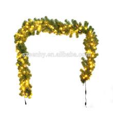 Guirnalda de la Navidad del PVC del color verde con las luces