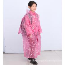 long jacket customized logo prints pink red transparent pvc children's raincoat poncho