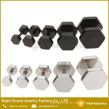 Benutzerdefinierte Silber schwarz plattiert Hexagon Edelstahl gefälschte Tunnel Fake Plug Ohrringe