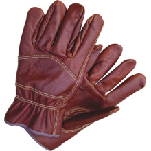 Dark Color Furniture Full Leather Wing Thumb Driver Work Glove-4009