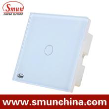 Interruptor táctil de pared de 1 cuadrilla, interruptor teledirigido ABS incombustible 1500W