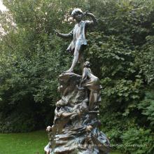 Gartendeko peter pannenstatue Metall Junge große Bronzestatuen für Verkauf