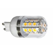 2015 NOUVEAU CE et ROHS base en céramique 3014 SMD G9 lampe LED 10W avec housse en silicone, 3 ans de garantie
