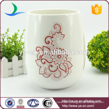 Red flower decal ceramic eco friendly trash can wholesale