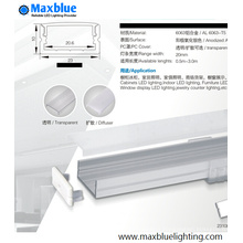 23X10mm Aluminum Profile Housing for LED Strip Lighting