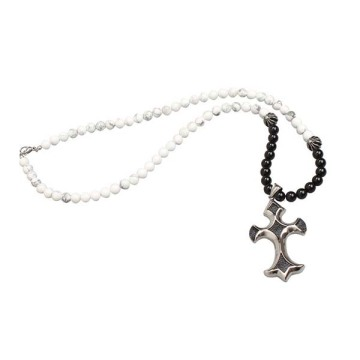 Batu Agate Bead Stainless Steel Cross Necklace Pendant