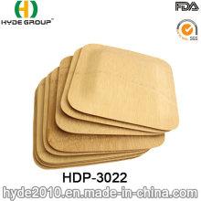 Plaque de bambou carrée jetable sans BPA pour votre fête (HDP-3022)