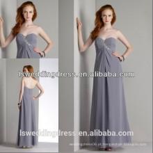 HC2235 Cinzento sem alças de algodão sem moldura de algodão com contas de cristal colhido, busto, baixo, volta, zíper, vestido longo, chiffon, novo, estilo