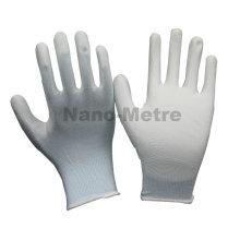 NMSAFETY hardware trabalhador usar 13g luz azul nylon / poliéster forro revestido branco pu trabalho luvas luvas de trabalho diário barato en388