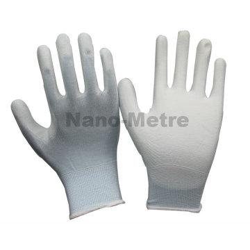 NMSAFETY hardware trabajador uso 13g luz azul nylon / poliéster revestido blanco pu guantes de trabajo en388 barato diario guantes de trabajo