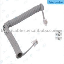 WHITE SPIRAL COIL COILED TELEFONKABEL CABE 1,5m (5ft)