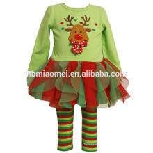 Pullover manga longa 2 peças conjunto pijama para crianças de Natal