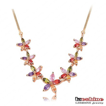 18k Gold Zircon Blume Choker Halskette (CNL0003-C)