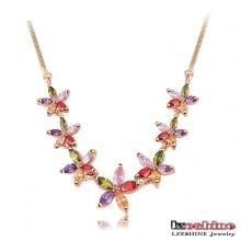 18k ouro zircão flor gargantilha colar (CNL0003-C)