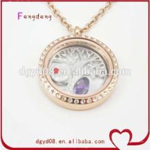 diseños del collar del medallón de la forma redonda del oro del acero inoxidable de la moda
